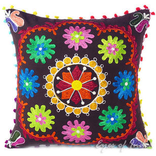 Brown Boho Embroidered Decorative Sofa Bohemian Couch Cushion Throw Pillow Cover - 16""