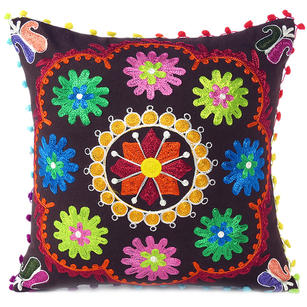 Brown Boho Embroidered Colorful Decorative Sofa Bohemian Couch Cushion Throw Pillow Cover - 16""