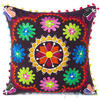 "Brown Boho Embroidered Colorful Decorative Sofa Bohemian Couch Cushion Throw Pillow Cover - 16"" 1"