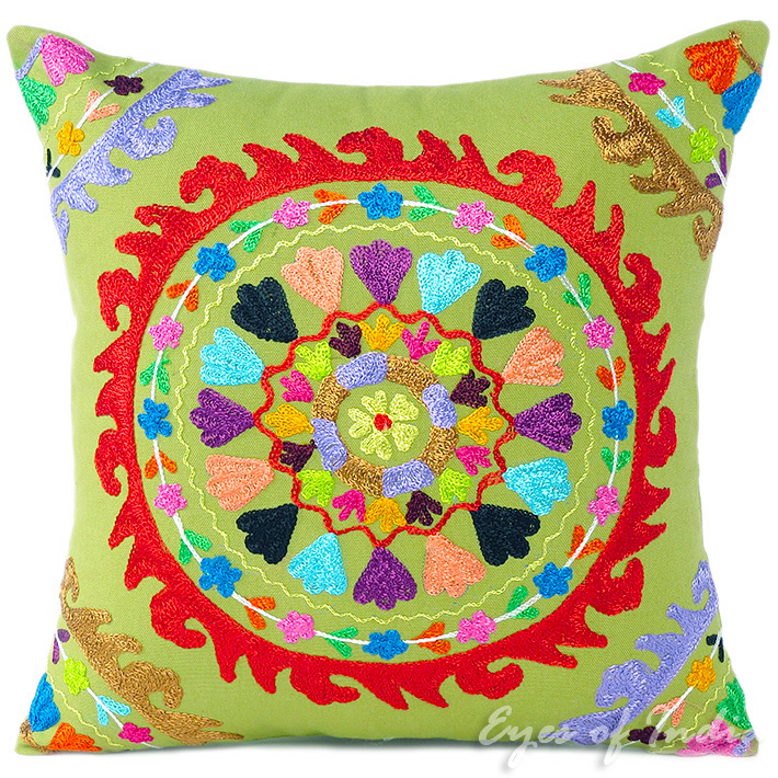 Green Olive Colorful Decorative Embroidered Boho Bohemian Couch Cushion Sofa Throw Pillow Cover - 16""