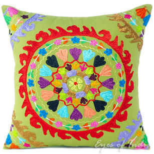 Green Colorful Decorative Embroidered Boho Bohemian Couch Cushion Sofa Throw Pillow Cover - 16""