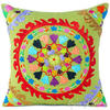 "Green Olive Colorful Decorative Embroidered Boho Bohemian Couch Cushion Sofa Throw Pillow Cover - 16"" 1"