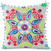 "Gray Grey Embroidered Boho Colorful Decorative Sofa Throw Bohemian Pillow Couch Cushion Cover - 16"" 1"