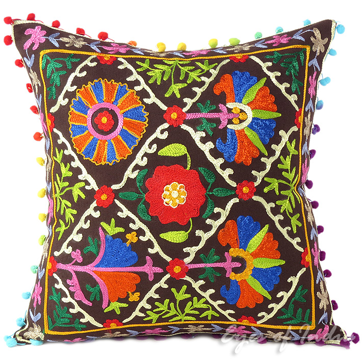 """Brown Decorative Embroidered Bohemian Couch Cushion Boho Throw Pillow Cover - 16"""""""
