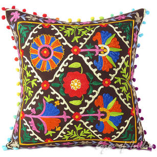 Brown Decorative Embroidered Bohemian Couch Cushion Boho Throw Pillow Cover - 16""