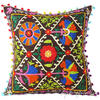 "Brown Colorful Decorative Embroidered Bohemian Couch Cushion Boho Sofa Throw Pillow Cover - 16"" 1"