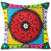 "Brown Colorful Embroidered Decorative Boho Sofa Throw Pillow Couch Cushion Cover - 16"" 1"