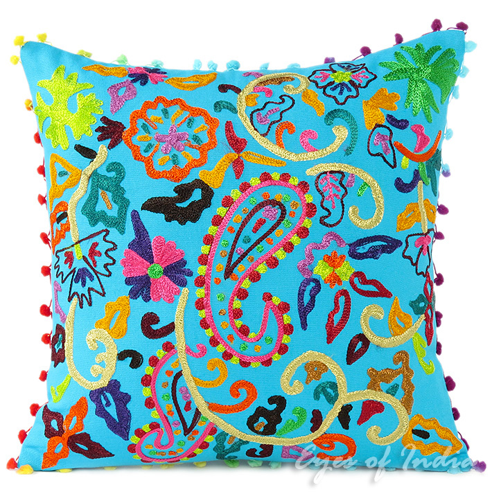 Blue Embroidered Colorful Decorative Boho Bohemian Sofa Pillow Couch Cushion Throw Cover - 16""