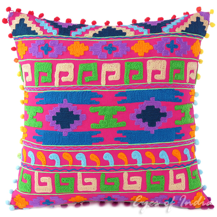 Pink Embroidered Colorful Decorative Boho Sofa Throw Pillow Bohemian Couch Cushion Cover - 16""