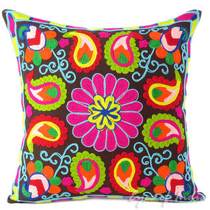 Brown Colorful Decorative Embroidered Bohemian Couch Pillow Boho Cushion Sofa Throw Cover - 16""