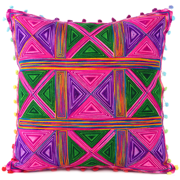 Pink Green Colorful Decorative Embroidered Bohemian Boho Couch Sofa Cushion Pillow Throw Cover - 16""