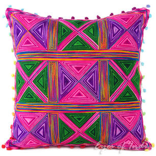 Pink Colorful Decorative Embroidered Bohemian Boho Couch Sofa Cushion Pillow Throw Cover - 16""