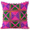 "Pink Green Colorful Decorative Embroidered Bohemian Boho Couch Sofa Cushion Pillow Throw Cover - 16"" 1"