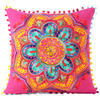 "Pink Orange Blue Embroidered Colorful Throw Pillow Bohemian Couch Sofa Cushion Cover - 16"" 1"
