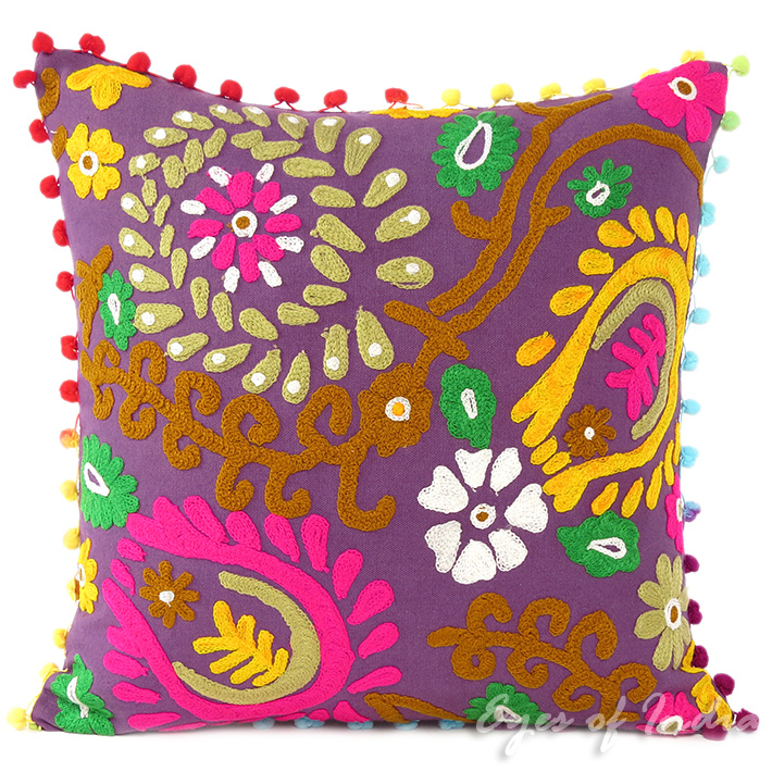 Purple Colorful Decorative Embroidered Bohemian Sofa Throw Couch Pillow Boho Cushion Cover - 16""