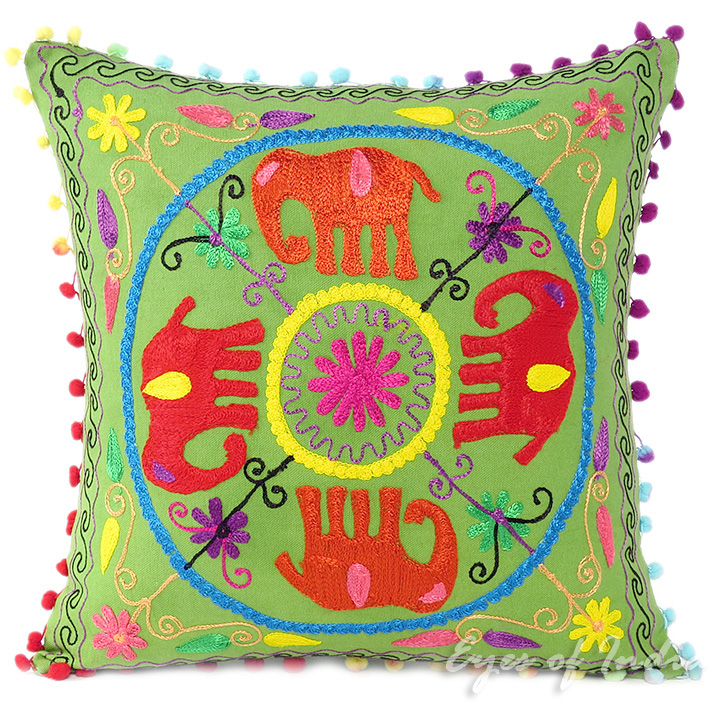 """Green Red Elephant Embroidered Colorful Decorative Throw Pillow Couch Sofa Cushion Cover - 16"""""""