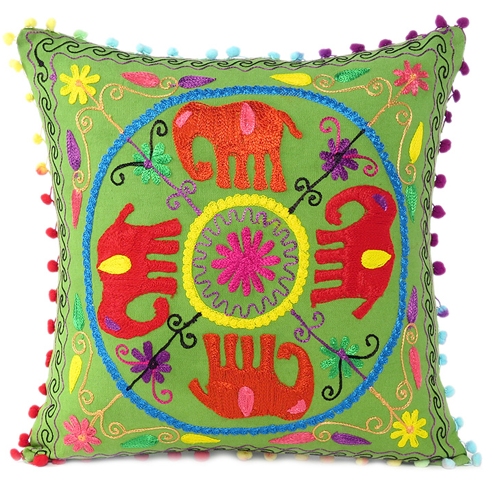 Green Red Elephant Embroidered Colorful Decorative Throw Pillow Couch Sofa Cushion Cover - 16""
