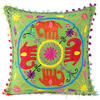 """Green Red Elephant Embroidered Colorful Decorative Throw Pillow Couch Sofa Cushion Cover - 16"""" 1"""