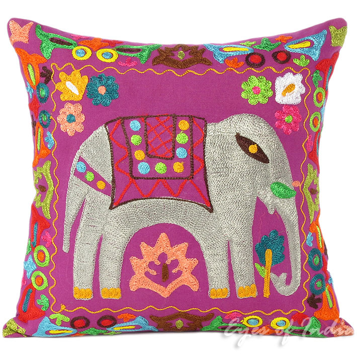Purple Colorful Decorative Elephant Embroidered Sofa Couch Cushion Throw Pillow Cover - 16""