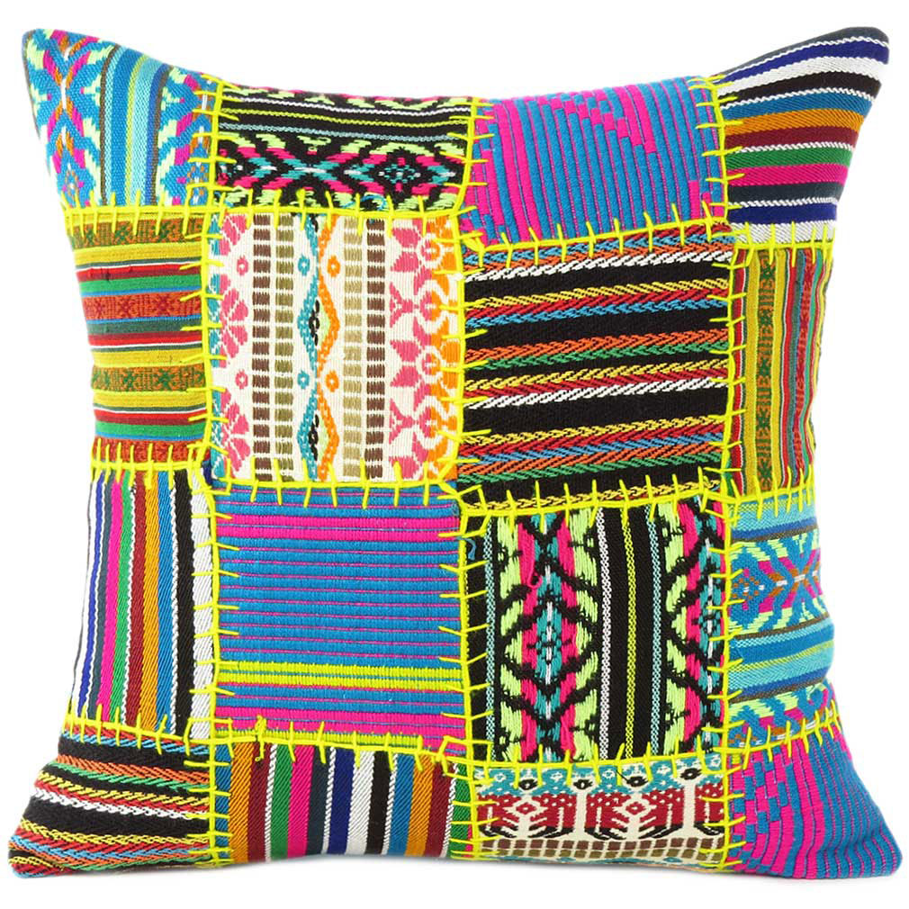 Black Yellow Dhurrie Patchwork Boho