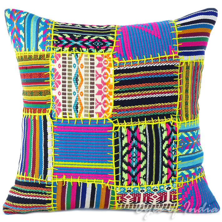 Black Yellow Dhurrie Patchwork Boho Colorful Decorative Couch Cushion Sofa Throw Pillow Cover - 16""