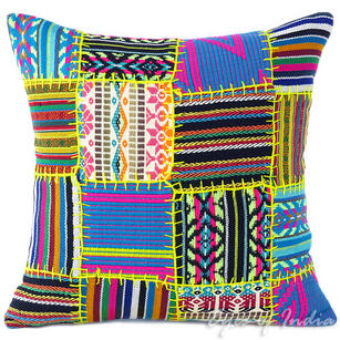 Black Yellow Dhurrie Patchwork Boho Bohemian Colorful Decorative Couch Cushion Sofa Throw Pillow Cover - 16""