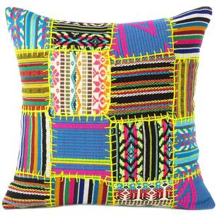 """Black Yellow Dhurrie Patchwork Boho Colorful Decorative Couch Cushion Sofa Throw Pillow Cover - 16"""""""