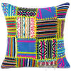 "Black Yellow Dhurrie Patchwork Boho Colorful Decorative Couch Cushion Sofa Throw Pillow Cover - 16"" 1"