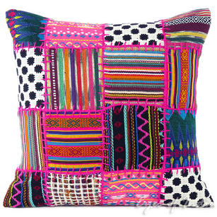 Pink Patchwork Dhurrie Patchwork Colorful Decorative Sofa Throw Pillow Couch Cushion Cover - 16""