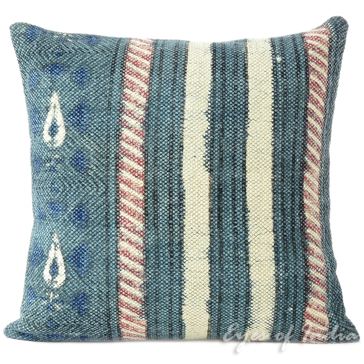 Blue Dhurrie Striped Bohemian Kilim Colorful Decorative Sofa Throw Couch Pillow Cushion Cover 16