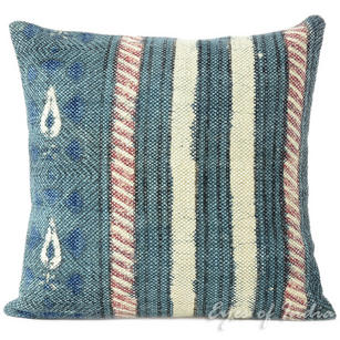 Blue Dhurrie Striped Bohemian Kilim Colorful Decorative Sofa Throw Couch Pillow Cushion Cover - 16""
