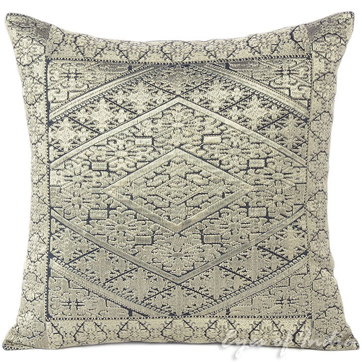 Silver Grey Embroidered Swati Colorful Couch Gray Sofa Throw Pillow Cushion Cover 16 14 X 20