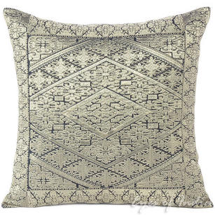 Silver Grey Embroidered Decorative Swati Gray Throw Pillow Couch Cushion Cover - 16""