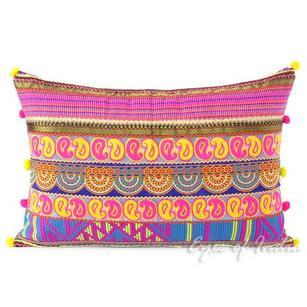 Pink and Yellow Moroccan Lumbar Bolster Decorative Boho Sofa Throw Pillow Cushion Cover- 16 X 24""