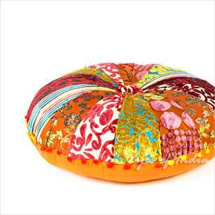 Orange and Red Velvet Decorative Seating Bohemian Round Floor Meditation Pillow Cushion Cover - 24, 30""