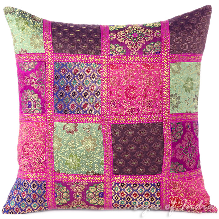 """Brocade Silk Patchwork Colorful Decorative Throw Couch Boho Sofa Cushion Pillow Cover - 16"""""""
