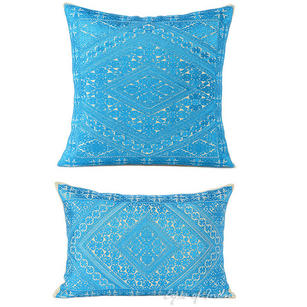 Blue Swati Colorful Decorative Embroidered Sofa Throw Pillow Couch Cushion Cover - 16, 14 X 20""