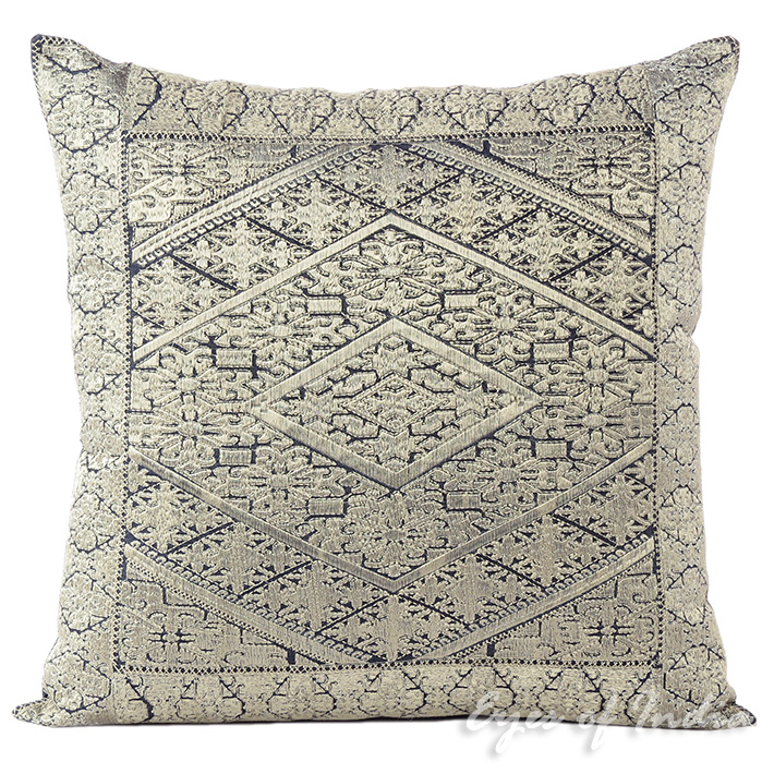 Silver Grey Embroidered Swati Decorative Couch Gray Throw Pillow Cushion Cover - 16, 14 X 20""