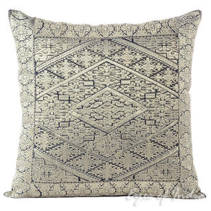 Silver Grey Embroidered Swati Colorful Couch Gray Sofa Throw Pillow Cushion Cover - 16, 14 X 20""