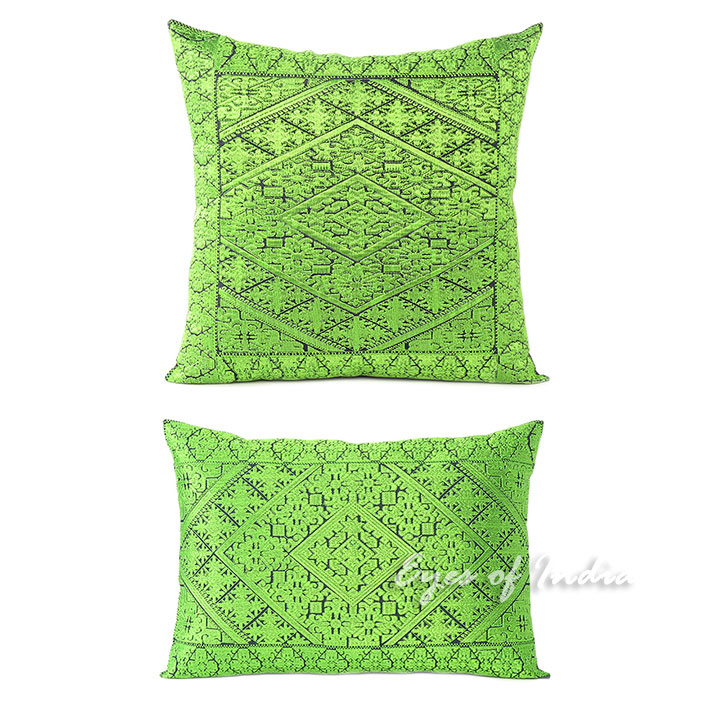 Green Colorful Decorative Embroidered Sofa Cushion Throw Couch Pillow Cover Boho 16 14 X 20