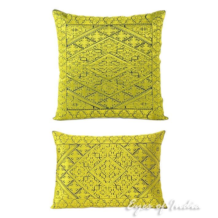 Yellow Colorful Decorative Swati Sofa Throw Couch Pillow Bohemian Cushion Cover- 16, 14 X 20""