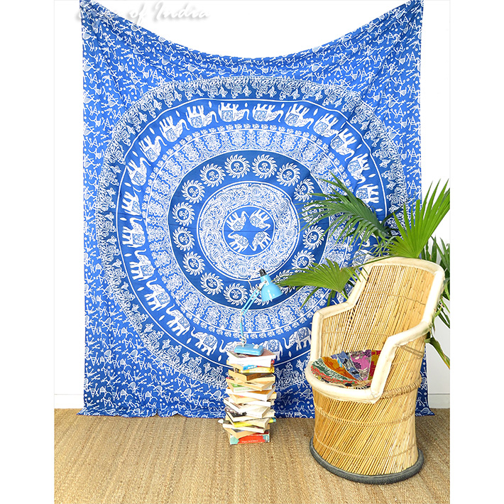 Colorful Elephant Ombre Hippie Mandala Tapestry Bohemian Bedspread - Large/Queen