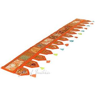 Orange Bohemian Patchwork Boho Window Door Valance Toran Wall Hanging- 78""