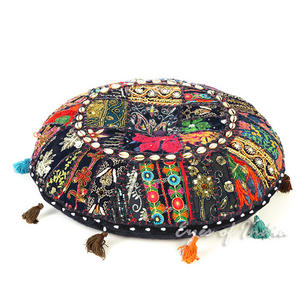 Black Boho Patchwork Round Colorful Floor Seating Meditation Pillow Cushion Cover with Shells - 22""