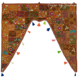 Brown Boho Bohemian Patchwork Window Door Valance Toran Wall Hanging - 42 X 46""