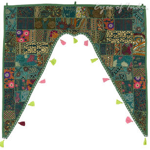 Green Bohemian Patchwork Window Door Valance Toran Boho Wall Hanging - 42 X 46""