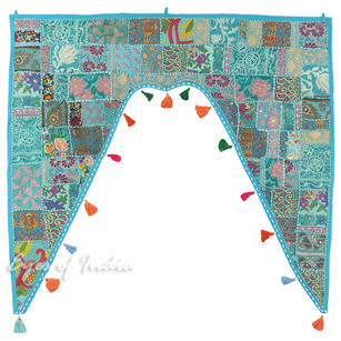 Blue Patchwork Boho Window Door Valance Bohemian Toran Wall Hanging - 42 X 46""
