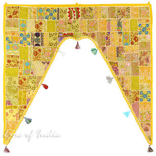 Yellow Patchwork Bohemian Window Door Valance Boho Toran Wall Hanging - 42 X 46""