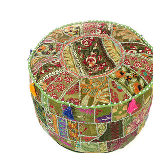 Small Olive Green Boho Patchwork Round Ottoman Bohemian Pouf Pouffe Cover - 17 X 12""