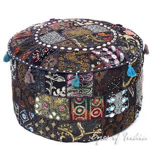"Black Patchwork Round Bohemian Boho Ottoman Pouf Pouffe Cover with Shells - 22 X 12"""